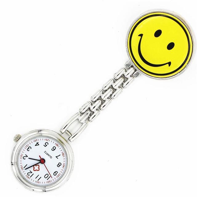 Cute Smile Face Smiley Clip On Pocket Fob Watch Stainless Steel Pendant Quartz C