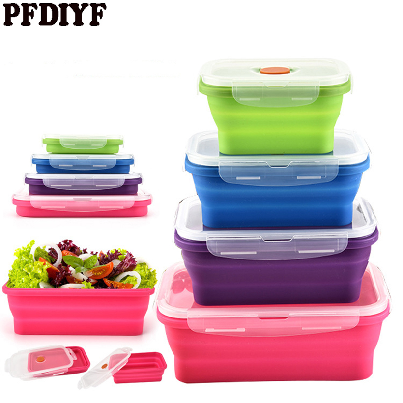 Food Grade Silicone Folding Bento Box Collapsible Portable Lunch Box for Food Dinnerware Food Container Bowl For Children Adult