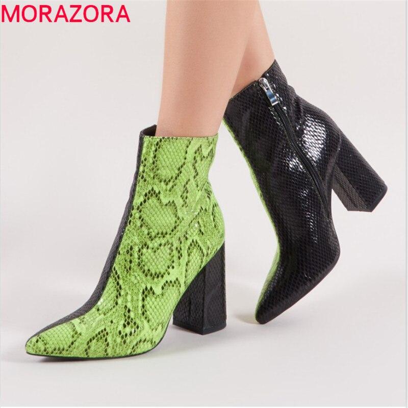 MORAZORA 2019 najwyższej jakości botki dla kobiet szpiczasty nosek mieszane kolory wysokie obcasy buty proste zamek modne buty kobieta w Buty do kostki od Buty na  Grupa 1