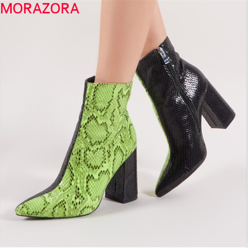 MORAZORA 2019 top quality ankle boots for women pointed toe mixed colors high heels boots simple zipper fashion shoes womanMORAZORA 2019 top quality ankle boots for women pointed toe mixed colors high heels boots simple zipper fashion shoes woman