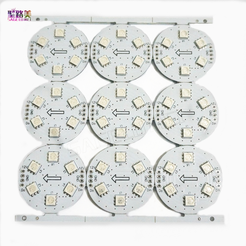 100pcs DC12V Wholesale D 38 6leds 5050 RGB SMD 5mm Original Public Board Driver IC WS2811