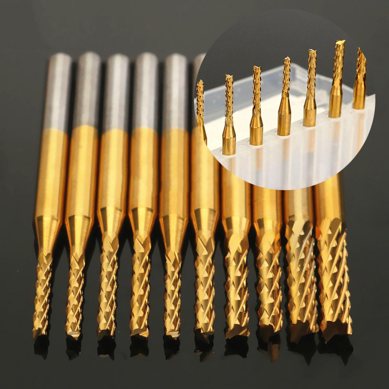 10pc 1.5-3.175mm SHK Wood cutter Corn End Mills CNC Router Bits Corn Milling Cutter Spiral PCB Cutter Tool Engraving Bits 3 175 12 0 5 40l one flute spiral taper cutter cnc engraving tools one flute spiral bit taper bits
