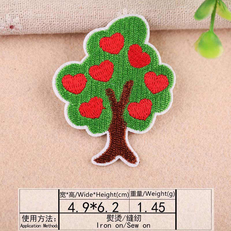 1Pcs Kirsche Blatt Stickerei Patch Wärme Transfers Eisen Auf Nähen Auf Patches für Kleidung Kleidung Aufkleber Dekorative Appliques 47211