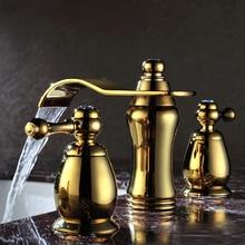 """Ванная комната 3 шт. """" широко распространенная цинковая раковина кран золотого цвета Хрустальный смеситель"""
