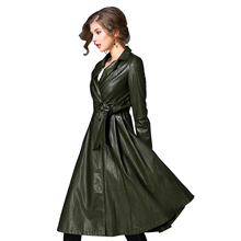 Women Full Sleeve Trench Coat Winter Black PU Leather Waistband Europe Style OverCoat Large Swing Coats