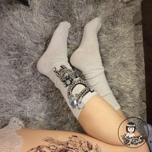 2018 New Christmas Socks Women Handmade Custom Diamond Girl Fashion Sequins Beaded Flower Rhinestone Letters In Tube Piles Of