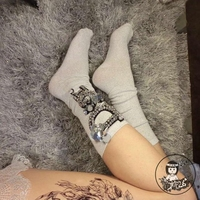 2018 New Christmas Socks Women Handmade Custom Diamond Girl Fashion Sequins Beaded Flower Rhinestone Letters In Tube Piles Of