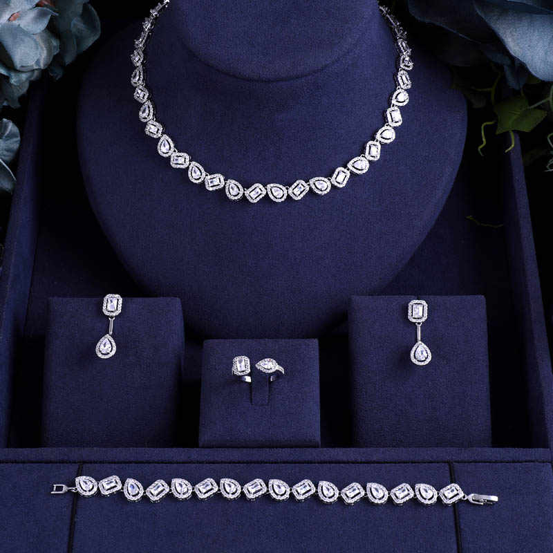 jankelly  Nigeria 4pcs Bridal Zirconia Jewelry Sets For Women Party, Luxury Dubai Nigeria CZ Crystal Wedding Jewelry Sets