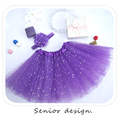 4T-8T with hair band kids girl star glitter dance tutu skirt sequin with 3 layers tulle tutu toddler girl chiffon pettiskrit