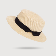 New women's pure color wide along the straw hats Summer sun dome fashion bow hat