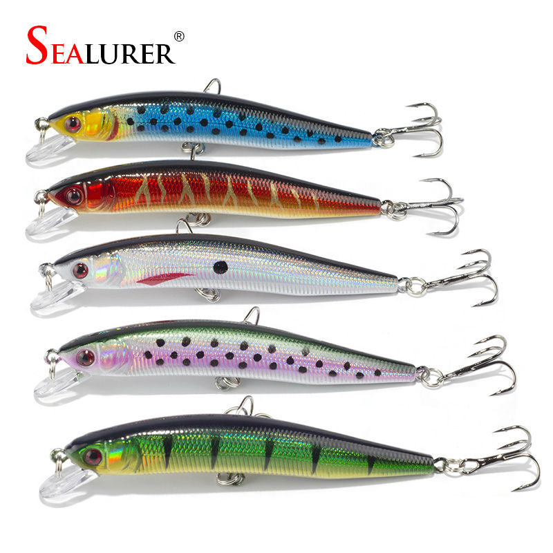 Sealurer Fishing Lure 10CM 8G 5pcs/lot Minnow Wobbler Floating Hard Bait Pesca Carp Isca Crankbait Swimbait Fishing Tackle 5pcs lot fishing lure lures 5 5cm 8g pesca hook fishing wobbler hard bait crankbait ackle artificial bait carp fishing accessory