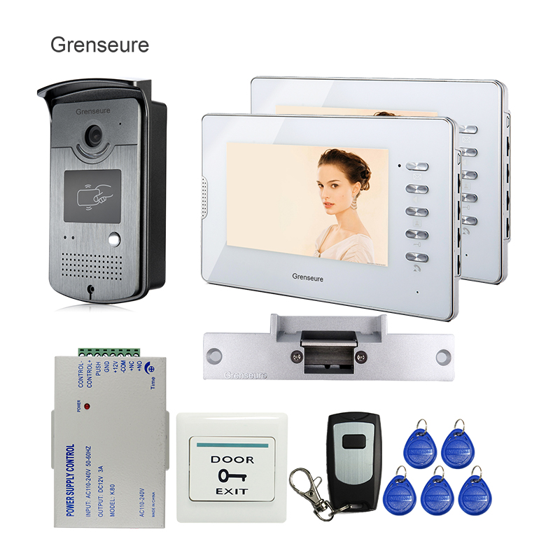 FREE SHIPPING 7 Color Video Door phone Intercom System 1 RFID Access Outdoor Camera 2 White