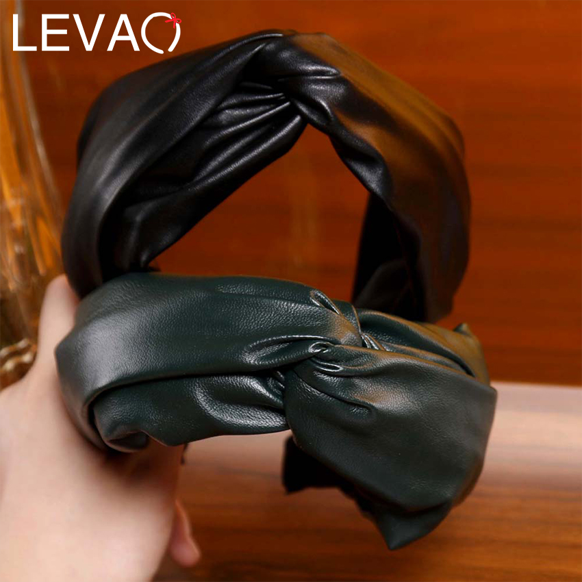Levao Solid PU Leather Hairbands Vintage Cross Knotted Wide Hair Hoops For Women Exquisite 4 Colors Fashion Female Headbands