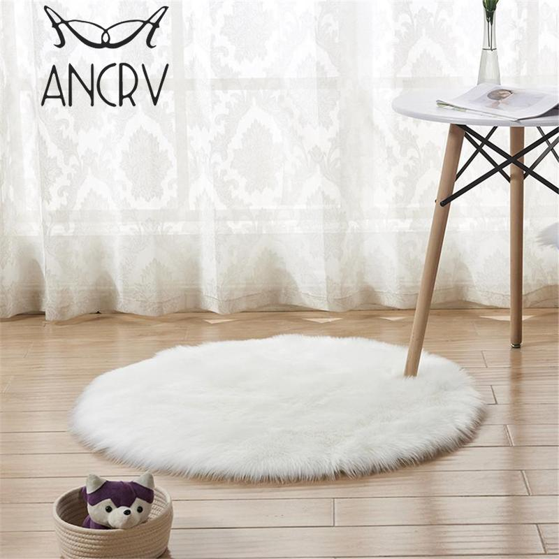 Round Sheepskin Chair Cover Seat Pad Soft Carpet Hairy Plain Skin Fur Plain Fluffy Area Rugs Bedroom Round Faux Mat VEH9420