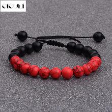 Oiquei feito à mão homens charme branco preto vermelho natural pedra briado pulseiras com macrame para moda jóias transporte da gota