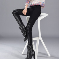 High Quality Black New Fashion Women Elastic Leggings Sexy Skinny Faux Leather Wet Look Lace Thick Leggings 2017 W880805