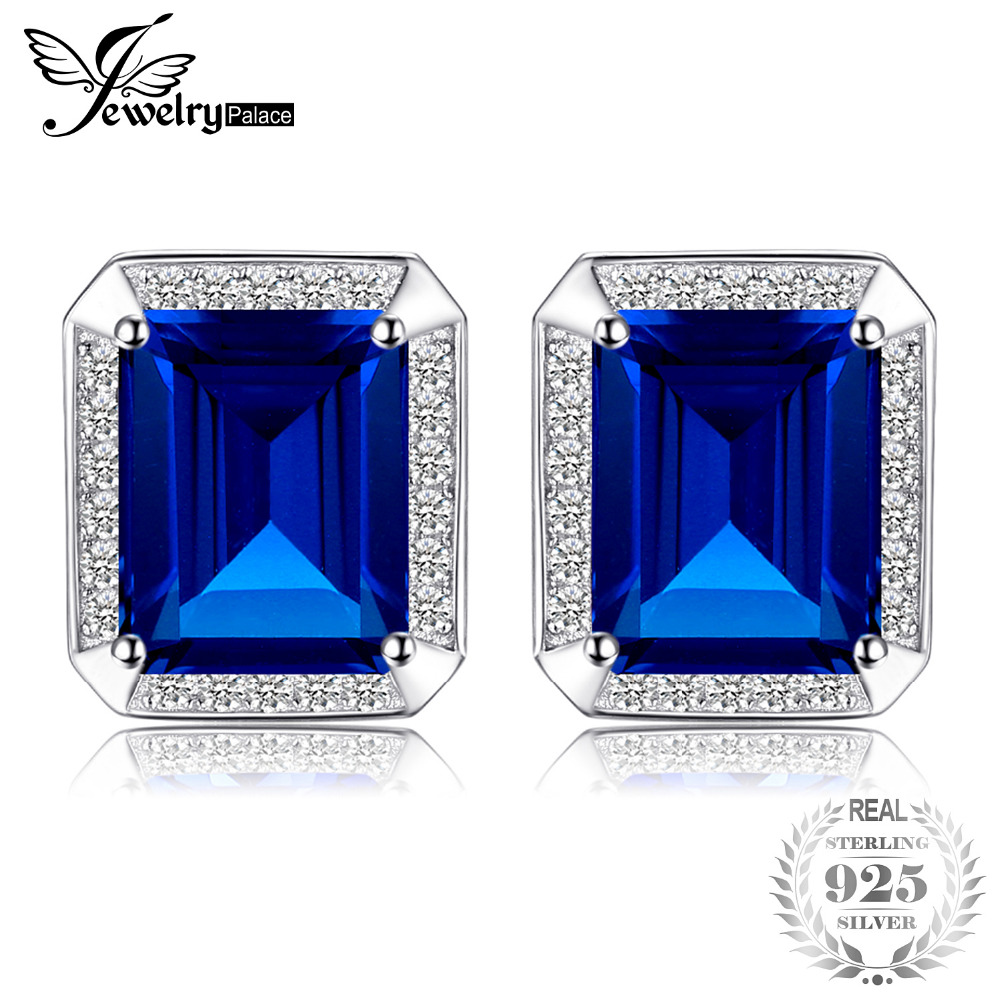 Jewelrypalace Men Luxury 8.6ct Created Sapphire Wedding Cufflinks 925 Sterling Sliver Jewelry Unique Fine Jewelry for MenJewelrypalace Men Luxury 8.6ct Created Sapphire Wedding Cufflinks 925 Sterling Sliver Jewelry Unique Fine Jewelry for Men