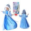 20157 girls new baby invierno de cumpleaños vestidos de noche 4 unids sets (Vestido + Corona + Trenza + varita Mágica), vestido de la moda europea y Americana