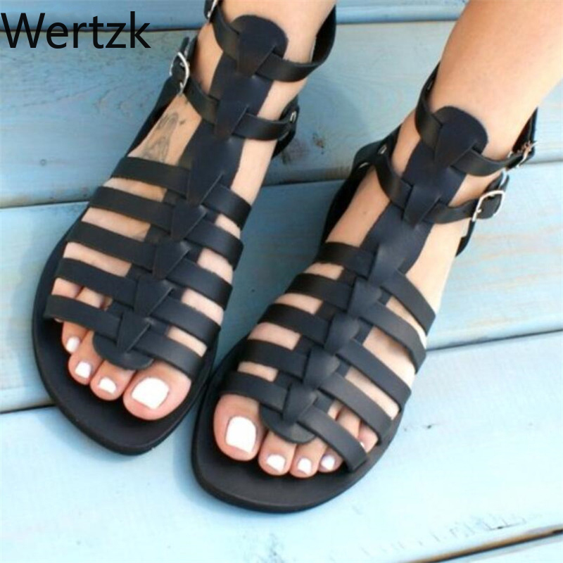 2019 Womens Rome sandals side empty low buckle buckle solid color shallow shoes flat shoes large size 34-43 sandals E5292019 Womens Rome sandals side empty low buckle buckle solid color shallow shoes flat shoes large size 34-43 sandals E529