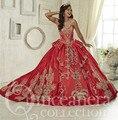 2016 Chegada Nova Luxury Red Querida Tafetá Vestidos Quinceanera Com Bordados Apliques Sweety Vestido De 15 Años