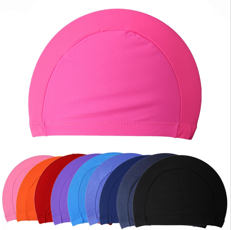 New Free Size Fabric Protect Ears Long Hair Sports Siwm Pool Swimming Cap Hat Adults Men Women Sporty Ultrathin Bathing Caps