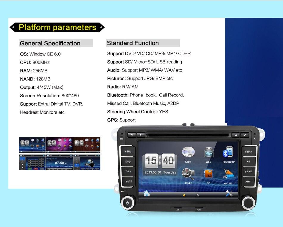 Lecteur dvd de voiture 2 DIN 7 ''pour VW GOLF JETTA POLO TOURAM PASSAT B6 avec écran tactile GPS, commande au volant, stéréo, radio, usb - 4