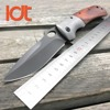 LDT Brown DA62 Folding Knife 5Cr13Mov Blade Steel Wood Handle Knife Survival Pocket EDC Tools Outdoor