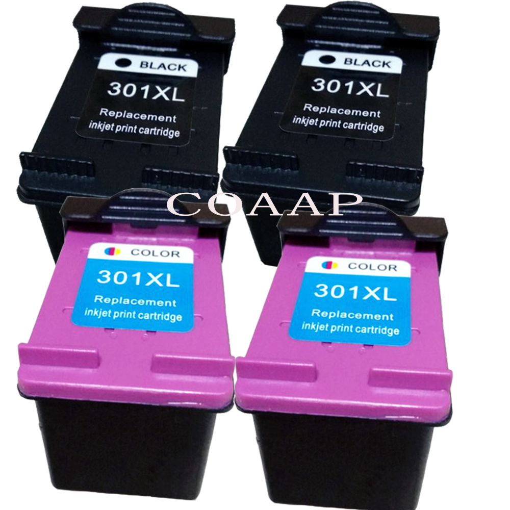 4Pack Refilled HP301 XL ink cartridge Replacements for hp Deskjet 1000 1050 1055 2540 2510 3000