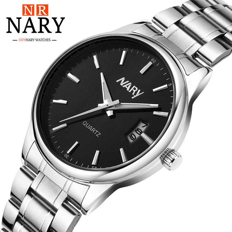 Brand NARY Luxury Fashion Watch Men Stainless Steel Band Watch Complete Calendar Business Casual Wrist watch Relogio Masculino 2016 hot sale fashion brand men watch stainless steel band quartz wrist watch casual business watch relogio masculino clock