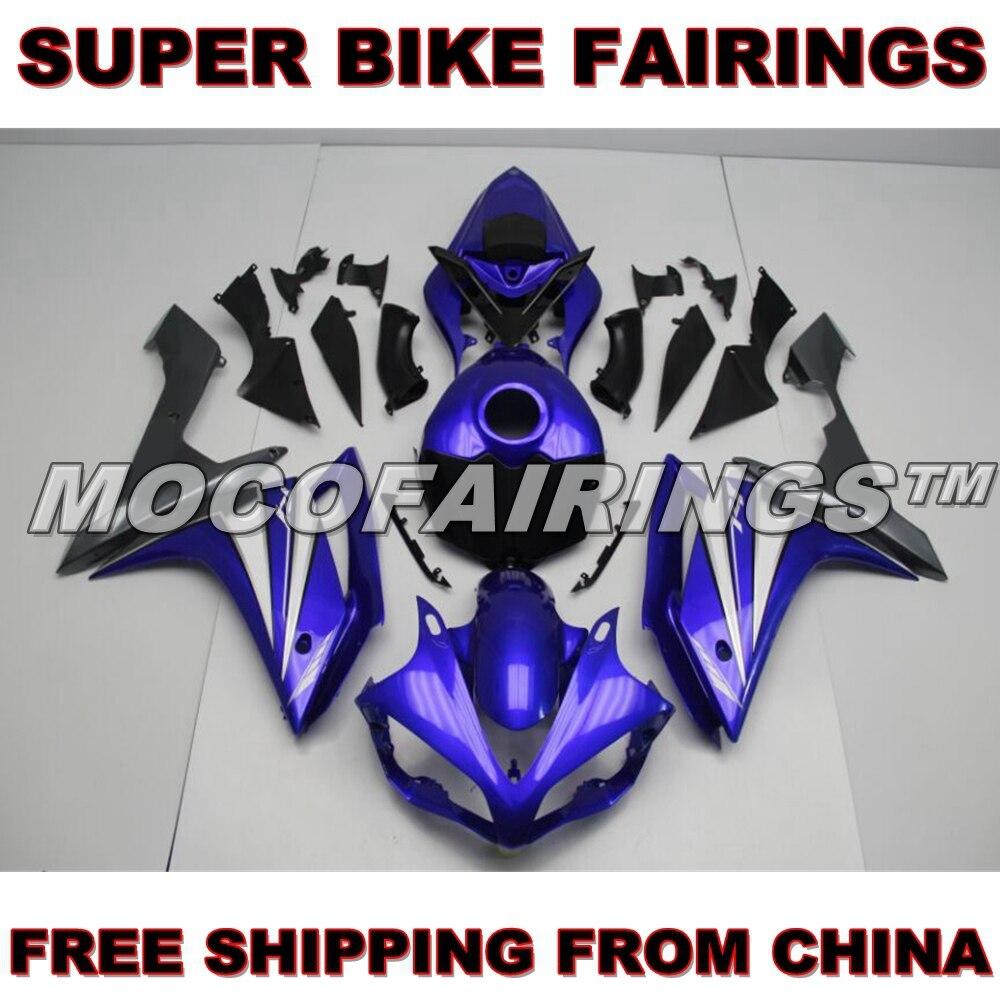 Kits de carénages de moto bleu foncé pour Yamaha YZF R1 2007 2008 Kit de carénage en plastique ABS livraison gratuite