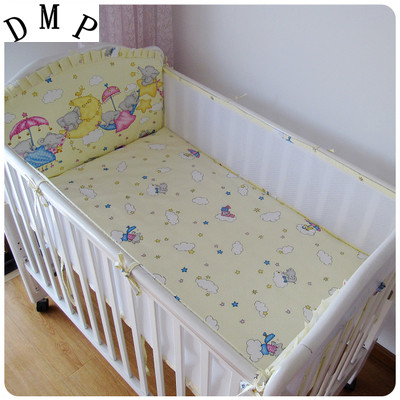 Promotion! 5PCS Baby Bed Sets Bumper set baby bedroom set Baby Crib Bedding Sets ,include:(bumper+sheet)