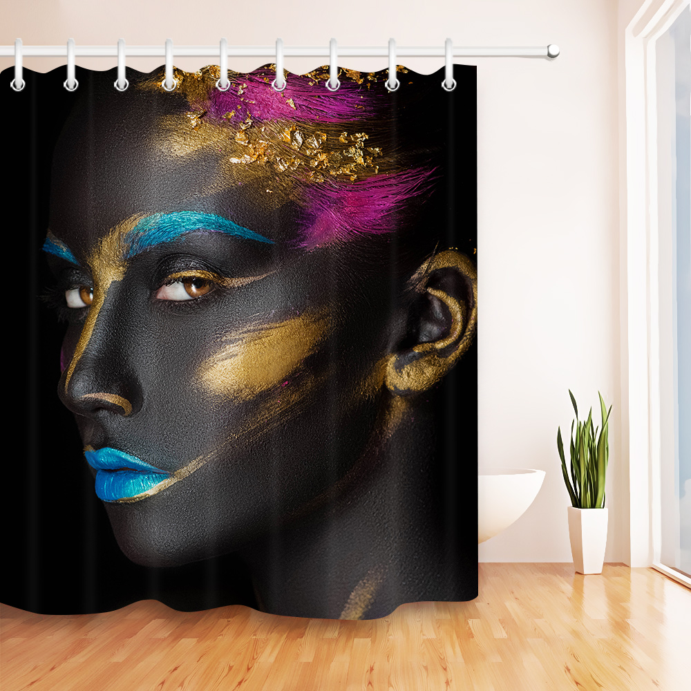LB Afro Make Up African Black Girl Shower Curtain High Quality Custom Waterproof Bathroom Polyester Fabric For Art Bathtub Decor In Curtains From
