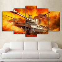 5 Panel Wall Art On Canvas Burning Fire Tank Modular Modern Home Decoration Image Paintings For Living Room Poster Vintage