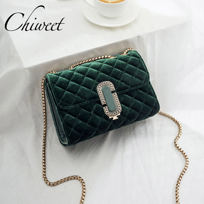 Famous Brand Winter Female Chain Crossbody Messenger Bags Luxury Handbags Women Vintage Velour Quilted Shoulder Bag Sac Ladies hot sale 2017 vintage cute small handbags pu leather women famous brand mini bags crossbody bags clutch female messenger bags