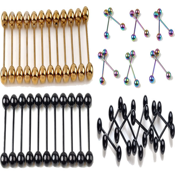 Wholesale 30Pcs/lot Stainless Steel Tongue Rings Piercing Ear Stud Body Jewelry Piercing For Tougue Gold Black