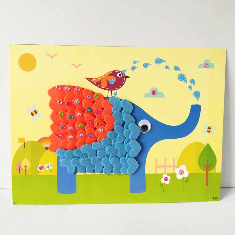 Happyxuan 8 видов конструкций детские принадлежности комплект мультфильм животных фетр вышивка для одежды 3D ручной работы DIY креативная игрушка детский сад образование