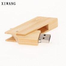 XIWANG more than 20 units free LOGO can rotate usb wood + box 4GB 8GB 16GB 32GB 64GB USB flash memory card key ring wedding gift