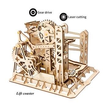 Robud DIY Lift Coaster Gear Drive Ball Game Crash Laser Cut Wood Model Building Kits ChildrenToy Gift LG503 for Free Shipping 2