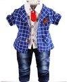 0-2Y новый 2015 осень baby boy плед одежда наборы 3 шт. мальчики джентльмен одежда наборы детская одежда детская весна осень костюм 3 шт.