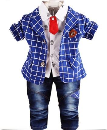 0-2Y new 2015 autumn baby boy plaid clothing sets 3pcs boys gentleman clothes sets kids clothes children spring autumn suit 3pcs