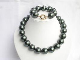 20mm Tahitian black south sea shell pearls necklace bracelet shipping free