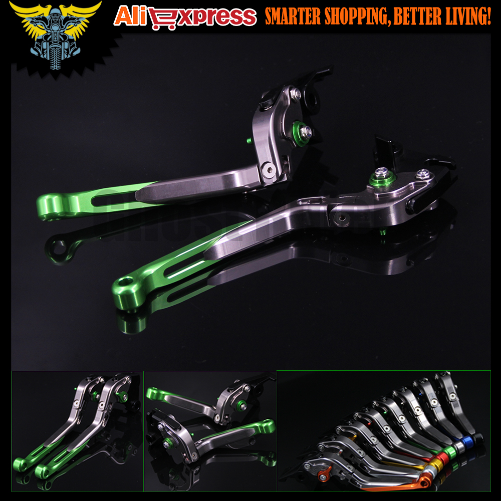 Green+Titanium 8 Colors CNC Adjustable Folding Extendable Motorcycle Brake Clutch Levers For Kawasaki VERSYS 1000 2012 2013 2014 adjustable folding extendable brake clutch levers for kawasaki versys 1000 w800 zzr1200 zrx1100 1200 8 colors