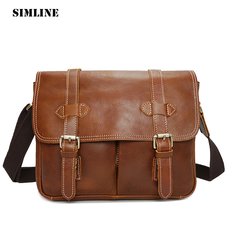 SIMLINE Vintage Casual Genuine Cow Leather Men Men's Handbag Handbags Shoulder Messenger Crossbody Bag Camera Bags For Man Male neweekend genuine leather bag men bags shoulder crossbody bags messenger small flap casual handbags male leather bag new 5867