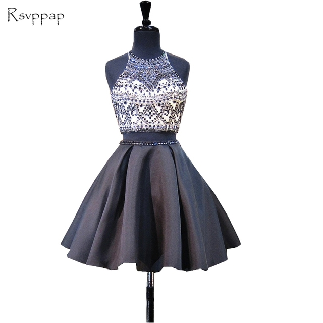f36df7f5bab Stunning Two Piece 8th Grade Prom Dresses Scoop Neckline Beaded Backless Black  Short Homecoming Dress 2019