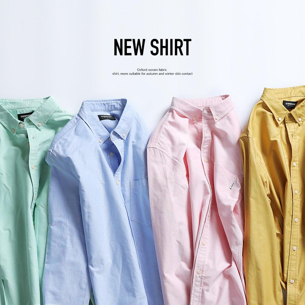 SIMWOOD Spring Winter Men Shirts New 2020 Fashion 100% Pure Cotton Basic Slim Fit Plus Size Brushed Oxford Shirts  180569