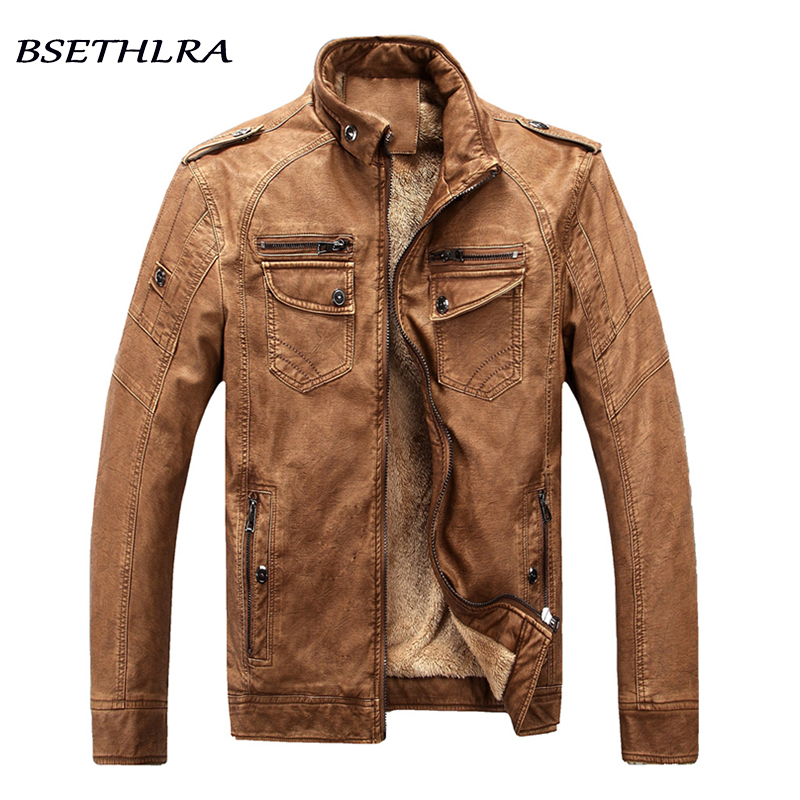 BSETHLRA 2017 New Winter Jacket Men Hot Sale Thick Casual Overcoat Homme PU Coat Male Solid Casual Fashion Brand Clothing M-3XL m 3xl hot 2018 spring men s new fashion conventional models slim collar pu leather jacket