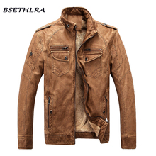 BSETHLRA 2017 New Winter Jacket Men Hot Sale Thick Casual Overcoat Homme PU Coat Male Solid Casual Fashion Brand Clothing M-3XL