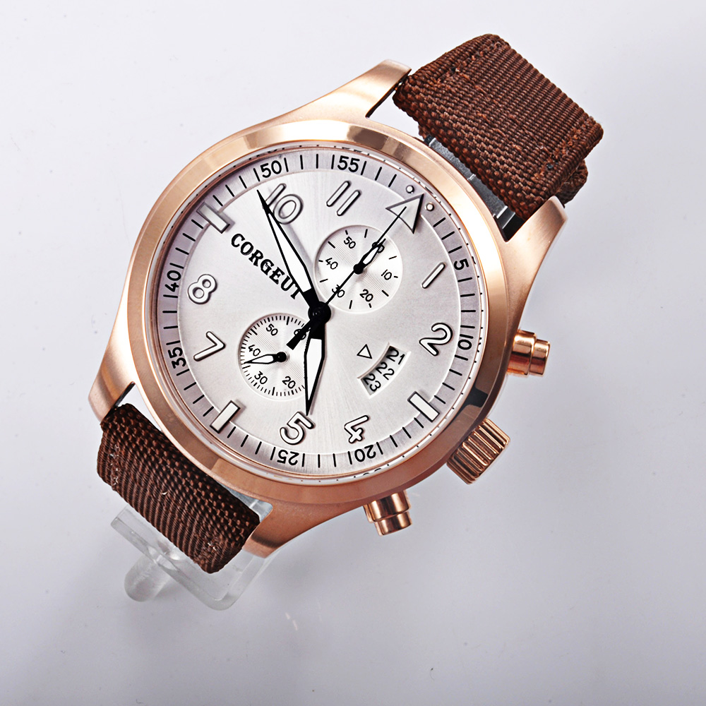 Corgeut white dial PVD Case mixed strap of the cloth and leather date Full Chronograph quartz men watches все цены