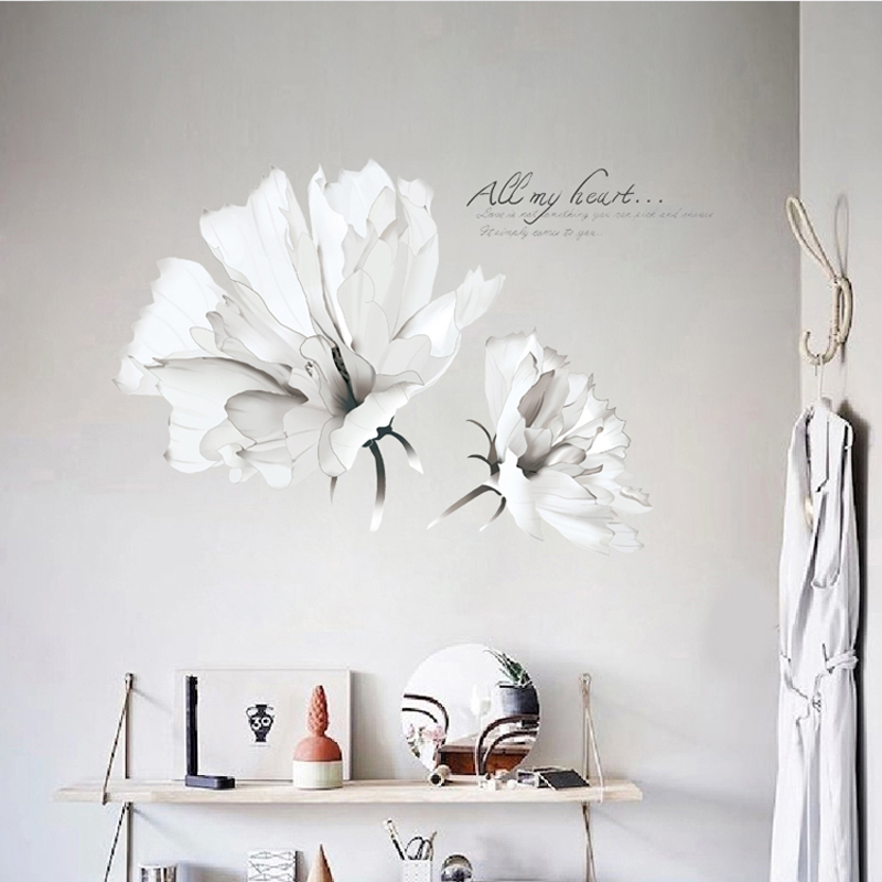 Decoration Stickers on the Wall 3D Flower Plant Wall Sticker Living Room Vinyl Adhesive Wallpaper Bedroom Tile Decor 60*90cm 01