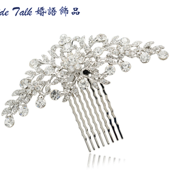 Fashion Wedding Bride Floral Flower Hair Comb Head Pieces w/ Clear Rhinestone Crystal Bridal Jewelry Hair Accessories FA2944FS